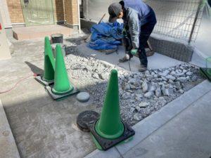 インターロッキング土間やり替え工事(石張り・川西市)2